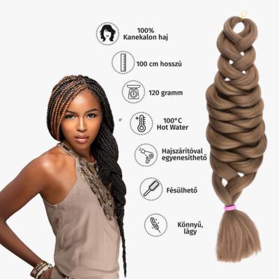 Afro szintetikus kanekalon haj 120g #18 világosbarna
