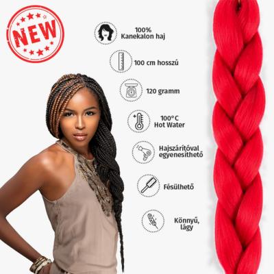 Afro szintetikus kanekalon haj 120g piros
