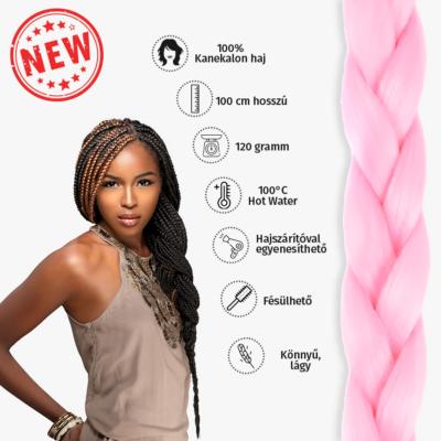 Afro szintetikus kanekalon haj 120g világos pink
