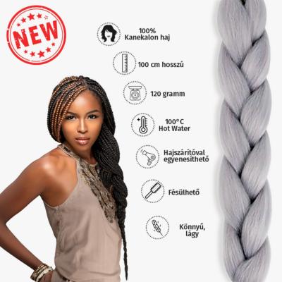 Afro szintetikus kanekalon haj 120g ezüst
