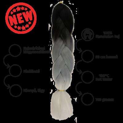 Afro ombre szintetikus 100% kanekalon haj tricolor #18 fekete-szürke-fehér