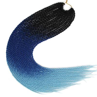 Afro ombre twist szintetikus haj - fekete-sötétkék-világoskék