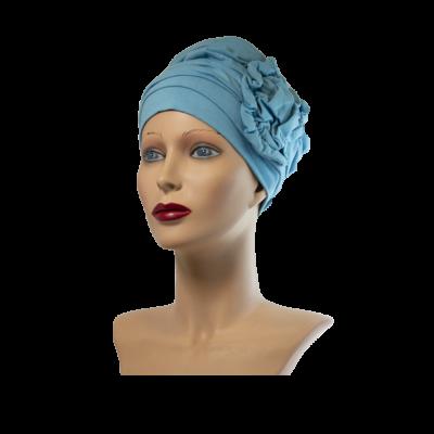 Liliom turbán sapka világos kék