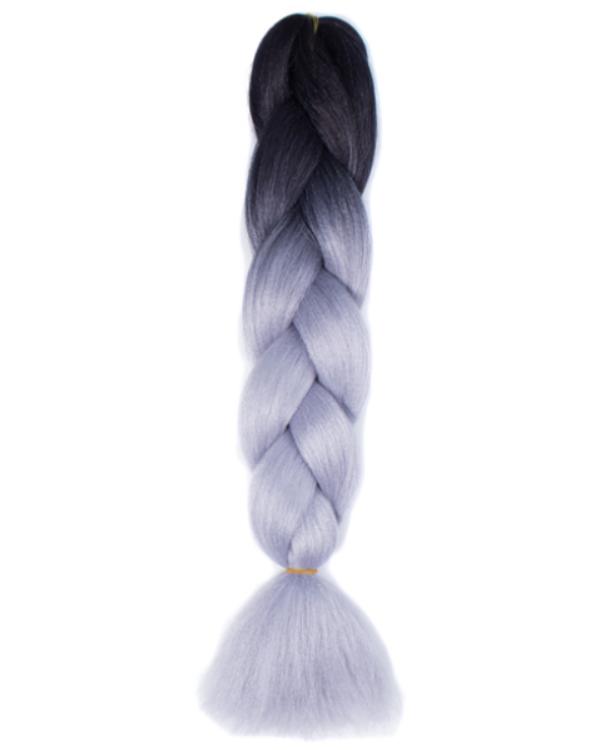 Afro ombre szintetikus kanekalon haj 28 fekete-ezüst