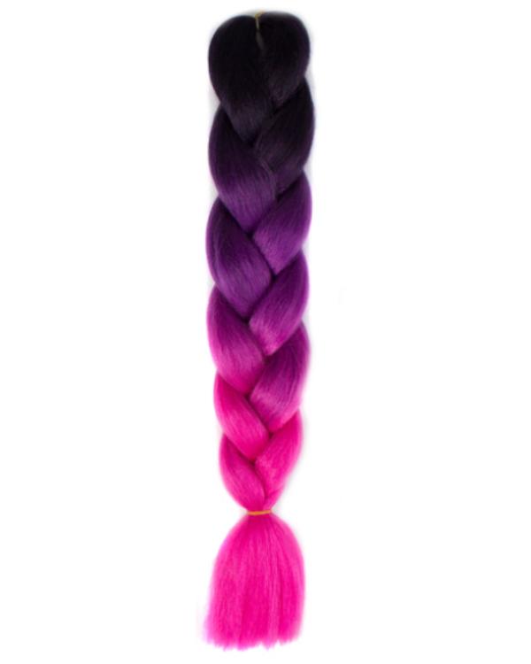 Afro ombre szintetikus kanekalon haj 50 fekete-lila-ciklámen