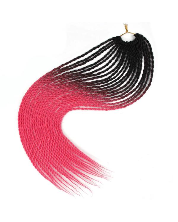 Afro ombre twist szintetikus haj - fekete-ciklámen
