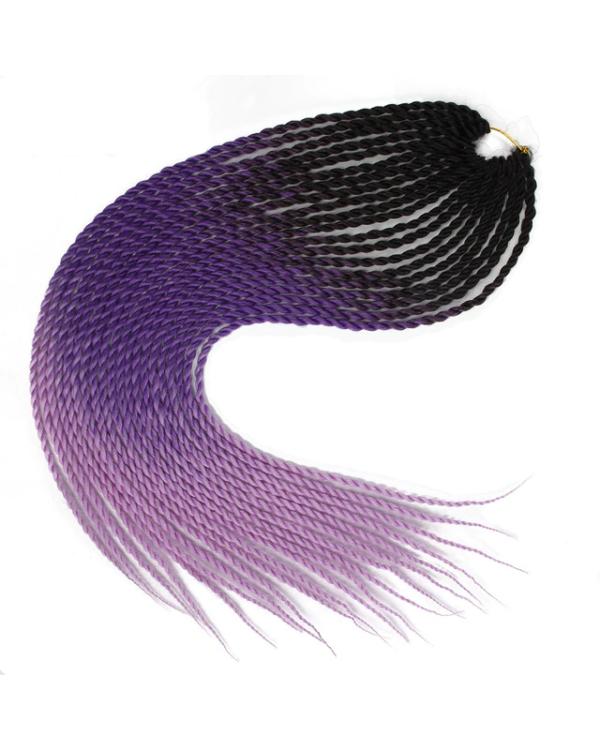 Afro ombre twist szintetikus haj - fekete-sötétlila-világoslila