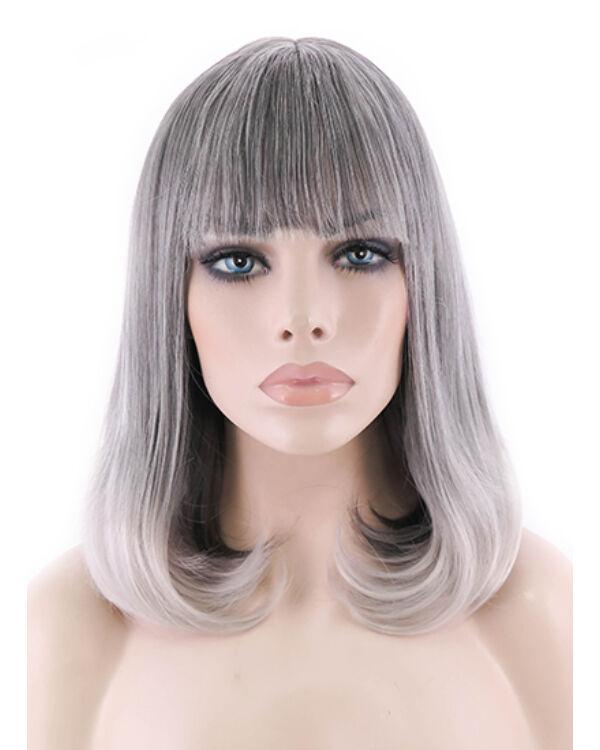Zara egyenes paróka 45cm - szürke-fehér ombre