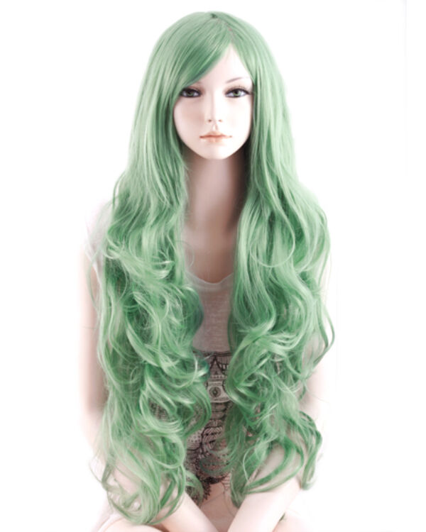 Candy hullámos paróka 100cm - Zöld