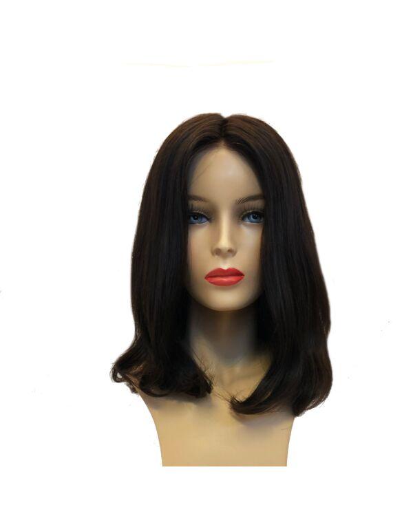 Sara 25cm humán haj paróka - Dark Brown