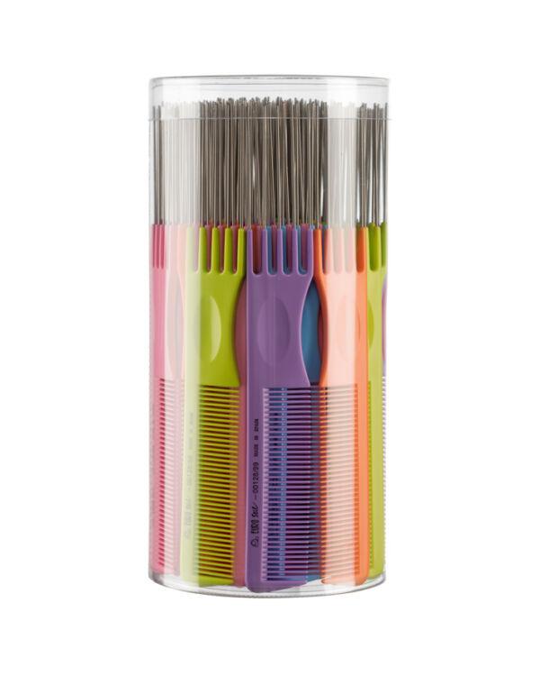 Eurostil fésű tincselő fém véggel színes 03853-128/99